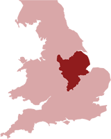 Map of the UK showing the location of the East Midlands Region